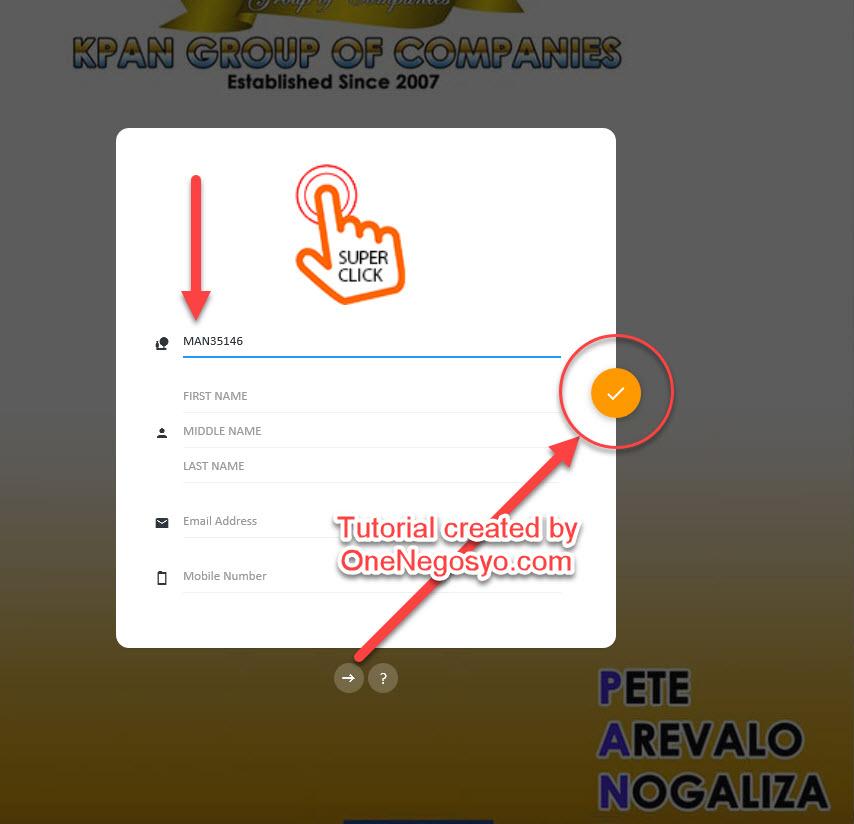 Step 3 - Enter Sponsor ID MAN 35146